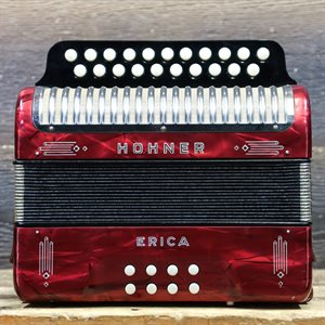 HOHNER ERICA 2-ROW 10-BASS 21-TREBLE BUTTON C/F RED