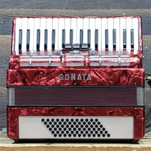 SONATA ACCORDION 72-BASS 34-KEY 3-TREBLE SWITCHES RED W/CASE