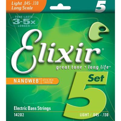 ELIXIR NANOWEB 14202 5-STRING LIGHT, LONG SCALE ELECTRIC BASS NICKEL PLATED STEEL - 45-130