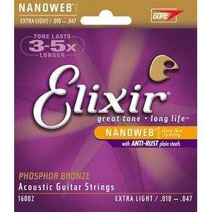 ELIXIR NANOWEB 16002 EXTRA LIGHT ACOUSTIC PHOSPHOR BRONZE - 10-47
