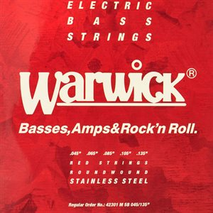 WARWICK 42301 M RED STRINGS STAINLESS 045/135 MEDIUM