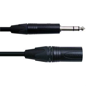 DIGIFLEX CXMS-3-BLACK XLRM TO 1/4 TRS, 3 PIEDS