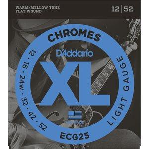 D'ADDARIO ECG25 CHROMES FLAT WOUND, LIGHT, 12-52
