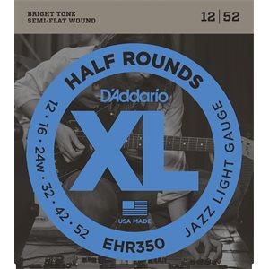 D'ADDARIO EHR350 HALF ROUNDS, JAZZ LIGHT, 12-52