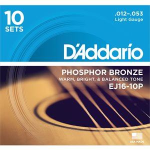 D'ADDARIO EJ16-10P PHOSPHOR BRONZE ACOUSTIC GUITAR STRINGS, LIGHT, 12-53 - 10 PACKS