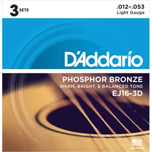 D'ADDARIO EJ16-3D PHOSPHOR BRONZE ACOUSTIC GUITAR STRINGS, LIGHT, 12-53 – 3 PACKS