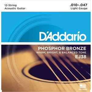 D'ADDARIO EJ38 PHOSPHOR BRONZE 12 STRING ACOUSTIC GUITAR STRINGS, LIGHT, 10-47