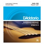 D'ADDARIO EPBB170-5 PHOSPHOR BRONZE 5 STRING ACOUSTIC BASS, LONG SCALE, 45-130