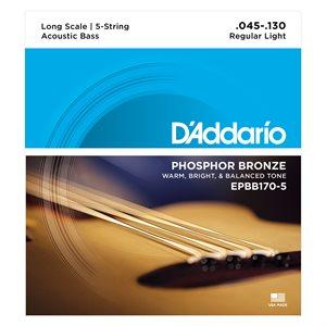 D'ADDARIO EPBB170-5 PHOSPHOR BRONZE 5 STRING ACOUSTIC BASS, LONG SCALE, 45-130