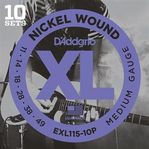 D'ADDARIO EXL115-10P NICKEL WOUND, MEDIUM/BLUES-JAZZ ROCK, 11-49 – 10 PACKS