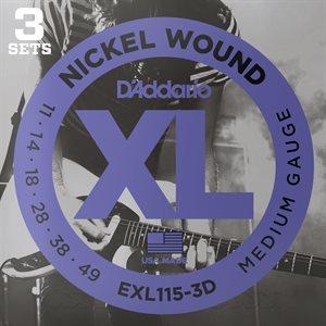 D'ADDARIO EXL115-3D NICKEL WOUND, MEDIUM/BLUES-JAZZ ROCK, 11-49 - 3 PACKS