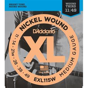 D'ADDARIO EXL115W NICKEL WOUND, MEDIUM/BLUES-JAZZ ROCK, WOUND 3RD, 11-49