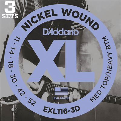 D'ADDARIO EXL116-3D NICKEL WOUND, MEDIUM TOP/HEAVY BOTTOM, 11-52 - 3 PACKS