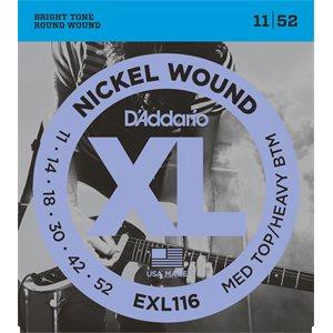 D'ADDARIO EXL116 NICKEL WOUND, MEDIUM TOP/HEAVY BOTTOM, 11-52