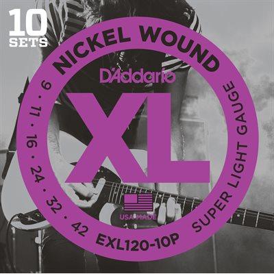 D'ADDARIO EXL120-10P NICKEL WOUND, SUPER LIGHT, 09-42 - 10 PACKS