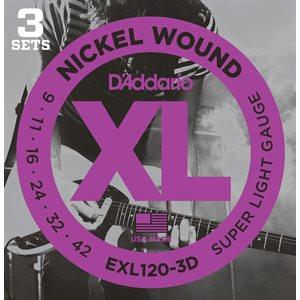 D'ADDARIO EXL120-3D NICKEL WOUND, SUPER LIGHT, 09-42 - 3 PACKS