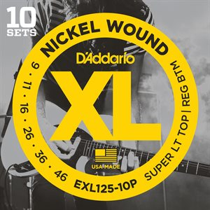 D'ADDARIO EXL125-10P NICKEL WOUND, SUPER LIGHT TOP/ REGULAR BOTTOM, 09-46 - 10 PACKS