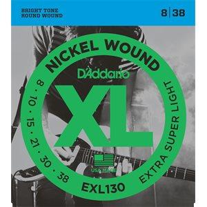 D'ADDARIO EXL130 NICKEL WOUND, EXTRA-SUPER LIGHT, 08-38