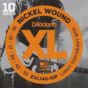D'ADDARIO EXL140-10P NICKEL WOUND, LIGHT TOP/HEAVY BOTTOM, 10-52 - 10 PACKS