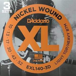 D'ADDARIO EXL140-3D NICKEL WOUND, LIGHT TOP/HEAVY BOTTOM, 10-52 - 3 PACKS