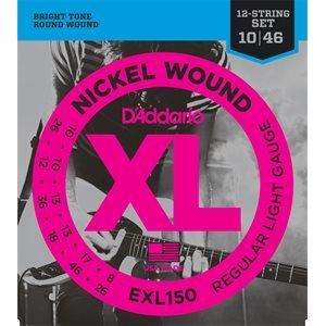 D'ADDARIO EXL150 NICKEL WOUND, 12 STRING, REGULAR LIGHT, 10-46