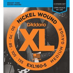 D'ADDARIO EXL160-5 NICKEL WOUND 5 STRING BASS, MEDIUM, 50-135, LONG SCALE