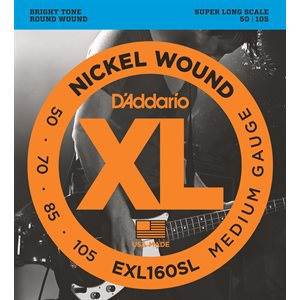 D'ADDARIO EXL160SL NICKEL WOUND BASS, MEDIUM, 50-105, SUPER LONG SCALE
