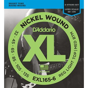 D'ADDARIO EXL165-6 NICKEL WOUND 6 STRING BASS, CUSTOM LIGHT, 32-135, LONG SCALE