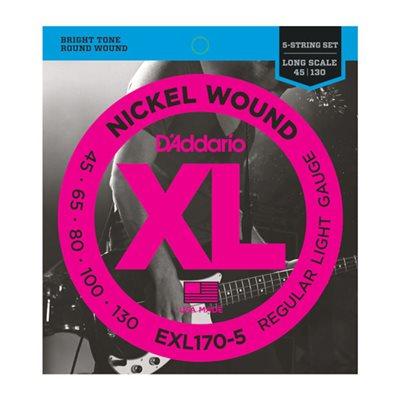D'ADDARIO EXL170-5 NICKEL WOUND 5 STRING BASS, LIGHT, 45-130, LONG SCALE