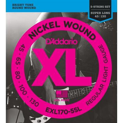 D'ADDARIO EXL170-5SL NICKEL WOUND 5 STRING BASS, LIGHT, SUPER LONG SCALE