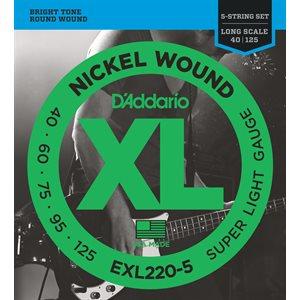 D'ADDARIO EXL220-5 NICKEL WOUND 5 STRING BASS, SUPER LIGHT, 40-125, LONG SCALE
