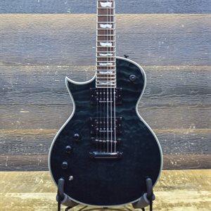 ESP LTD EC-1000 PIEZO LEFT-HANDED SEE THRU BLACK ELECTRIC GUITAR #IW18031514