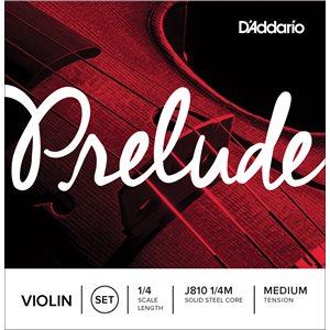 DADDARIO PRELUDE VIOLIN STRING SET, 1/4 SCALE, MEDIUM TENSION