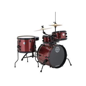 LUDWIG LC178X025 POCKET KIT SERIES 4-PIECE RED WINE SPARKLE (16BD, 10T, 13T, 12SD) W/HARDWARE, CYMBALS AND THRONE