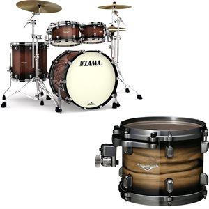 TAMA ME42TZBS-LNWB STARCLASSIC MAPLE 4-PIECE EXOTIC NATURAL PACIFIC WALNUT BURST BLACK NICKEL HARDWARE (2216BD, 1007T, 1208T, 1616FT)