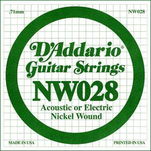 D'ADDARIO NW028 NICKEL WOUND ELECTRIC GUITAR SINGLE STRING .028