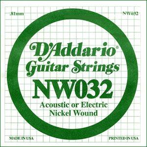 D'ADDARIO NW032 NICKEL WOUND ELECTRIC GUITAR SINGLE STRING .032