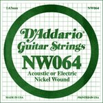 D'ADDARIO NW064 NICKEL WOUND ELECTRIC GUITAR SINGLE STRING .064