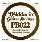 D'ADDARIO PB022 PHOSPHOR BRONZE WOUND ACOUSTIC GUITAR SINGLE STRING .022