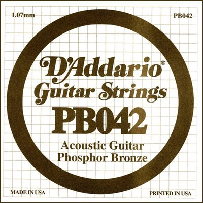 D'ADDARIO PB042 PHOSPHOR BRONZE WOUND ACOUSTIC GUITAR SINGLE STRING .042