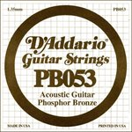 D'ADDARIO PB053 PHOSPHOR BRONZE WOUND ACOUSTIC GUITAR SINGLE STRING .053