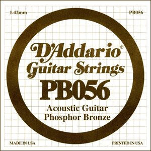 D'ADDARIO PB056 PHOSPHOR BRONZE WOUND ACOUSTIC GUITAR SINGLE STRING .056