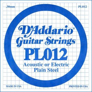 D'ADDARIO PL012 PLAIN STEEL GUITAR SINGLE STRING .012