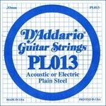 D'ADDARIO PL013 PLAIN STEEL GUITAR SINGLE STRING .013