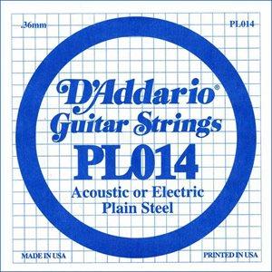 D'ADDARIO PL014 PLAIN STEEL GUITAR SINGLE STRING .014