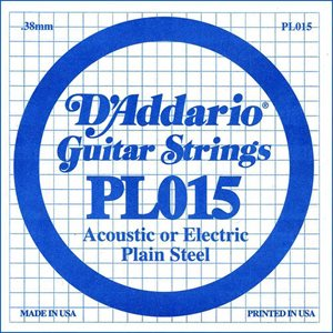 D'ADDARIO PL015 PLAIN STEEL GUITAR SINGLE STRING .015