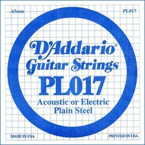 D'ADDARIO PL017 PLAIN STEEL GUITAR SINGLE STRING .017