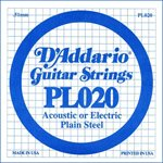 D'ADDARIO PL020 PLAIN STEEL GUITAR SINGLE STRING .020