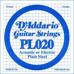 D'ADDARIO PL020 PLAIN STEEL GUITAR SINGLE STRING .020