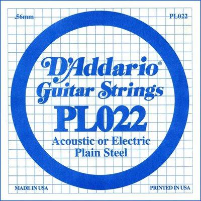 D'ADDARIO PL022 PLAIN STEEL GUITAR SINGLE STRING .022